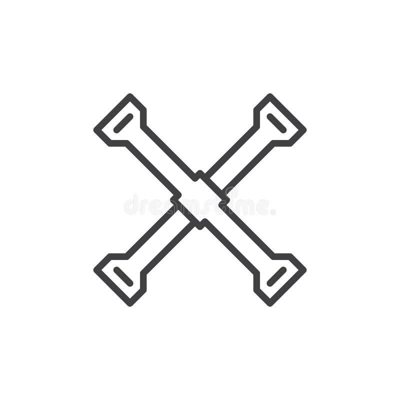 Línea icono, muestra del vector del esquema, pictograma linear del hierro de neumático del estilo aislado en blanco ilustración del vector
