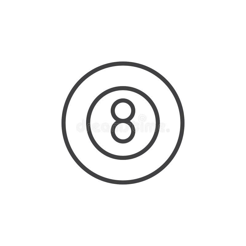 Línea icono, muestra del vector del esquema, pictograma linear del juego de la piscina de ocho bolas del estilo aislado en blanco ilustración del vector