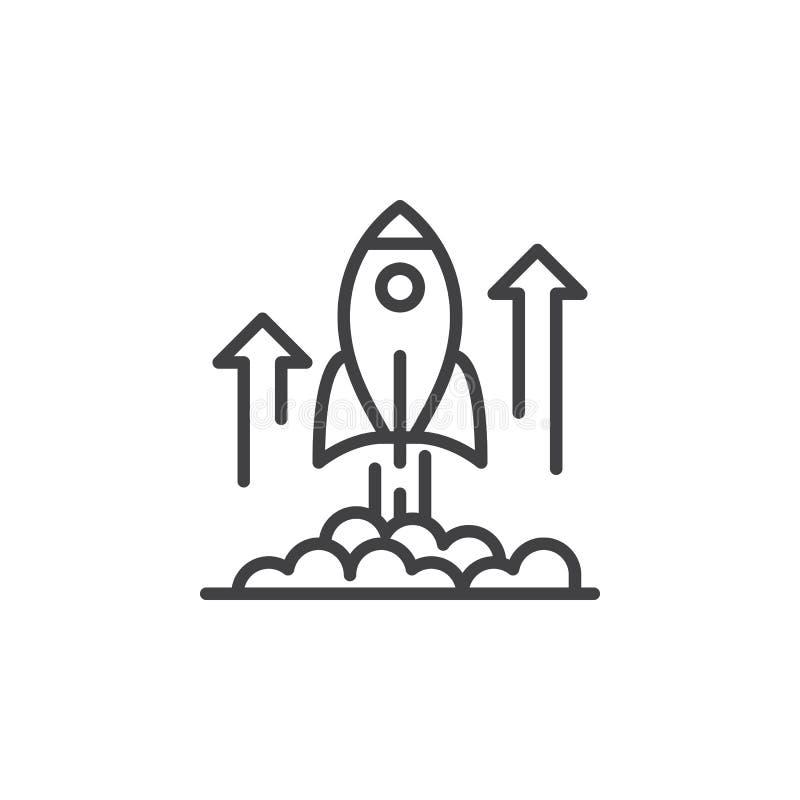 Línea icono, muestra del vector del esquema, pictograma linear del lanzamiento de Rocket aislado en blanco ilustración del vector