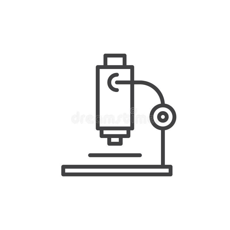Línea icono, muestra del vector del esquema, pictograma linear del microscopio del estilo aislado en blanco ilustración del vector