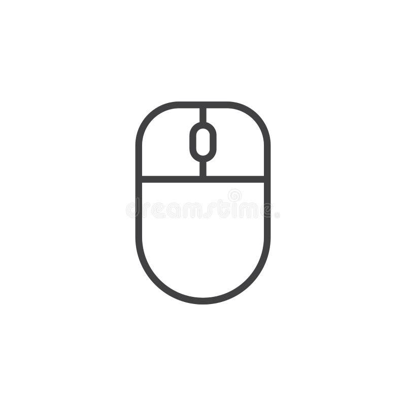 Línea icono, muestra del vector del esquema, pictograma linear del ratón del ordenador del estilo aislado en blanco stock de ilustración