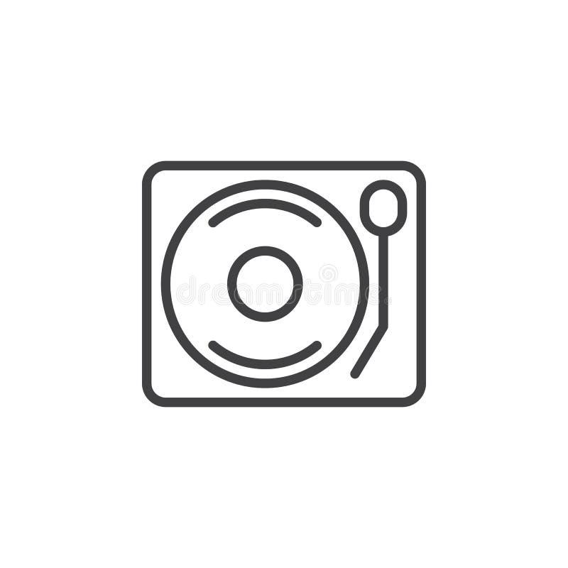 Línea icono, muestra del vector del esquema, pictograma linear del tocadiscos de la placa giratoria del vinilo del estilo aislado libre illustration