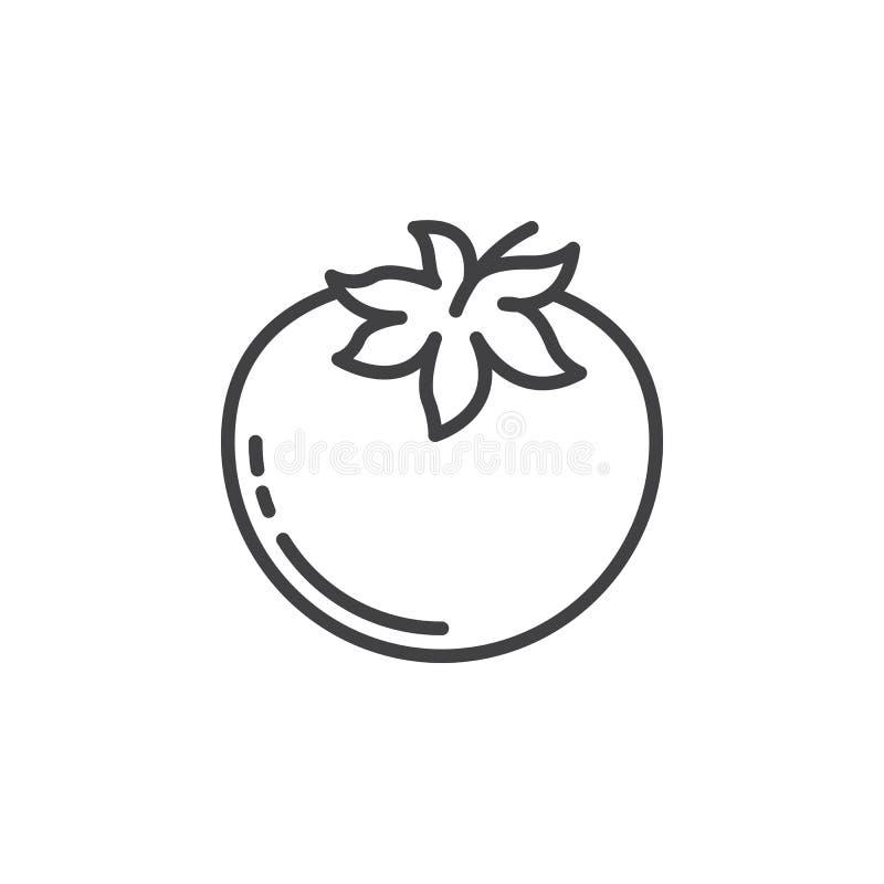 Línea icono, muestra del vector del esquema, pictograma linear del tomate aislado en blanco stock de ilustración