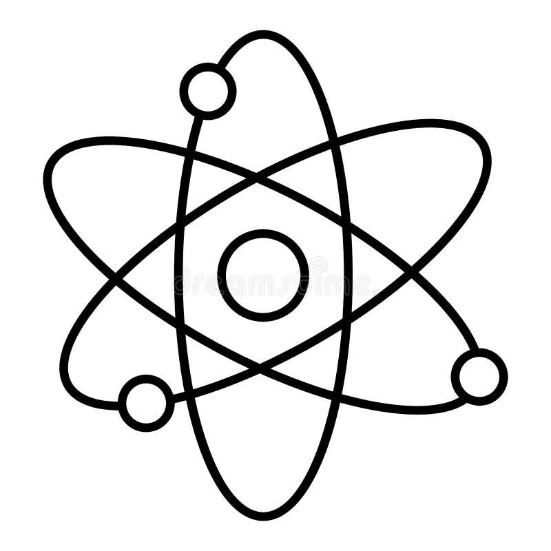 Línea icono, muestra del vector del esquema, pictograma linear del átomo aislado en blanco Símbolo, ejemplo del logotipo imagenes de archivo