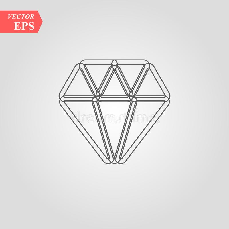 Línea icono, muestra del vector del esquema, pictograma linear del diamante del estilo aislado en blanco Símbolo brillante de la  stock de ilustración