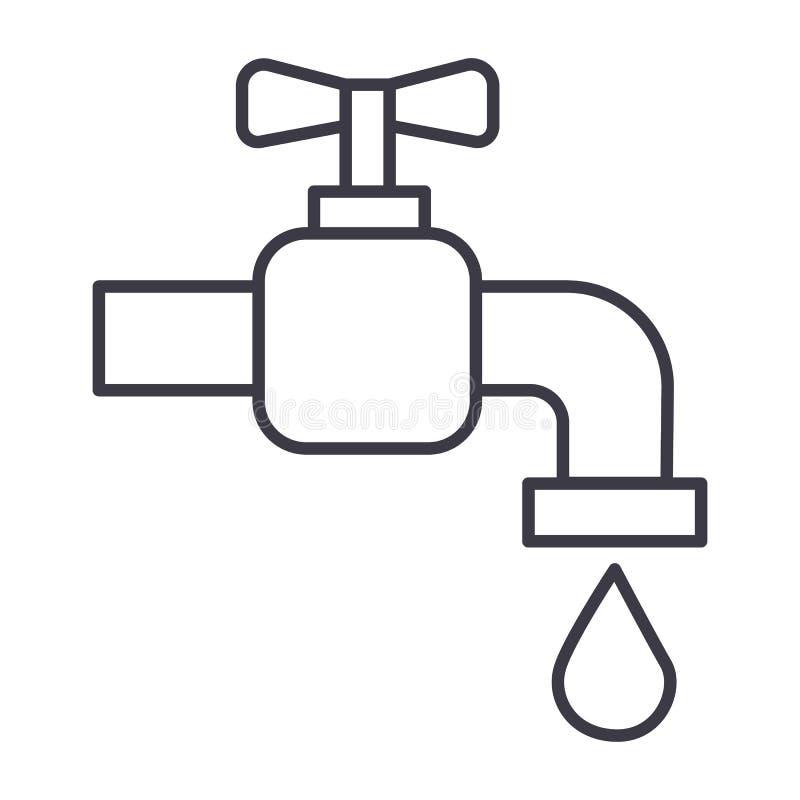 Línea icono, muestra, ejemplo del vector del agua del grifo en el fondo, movimientos editable libre illustration