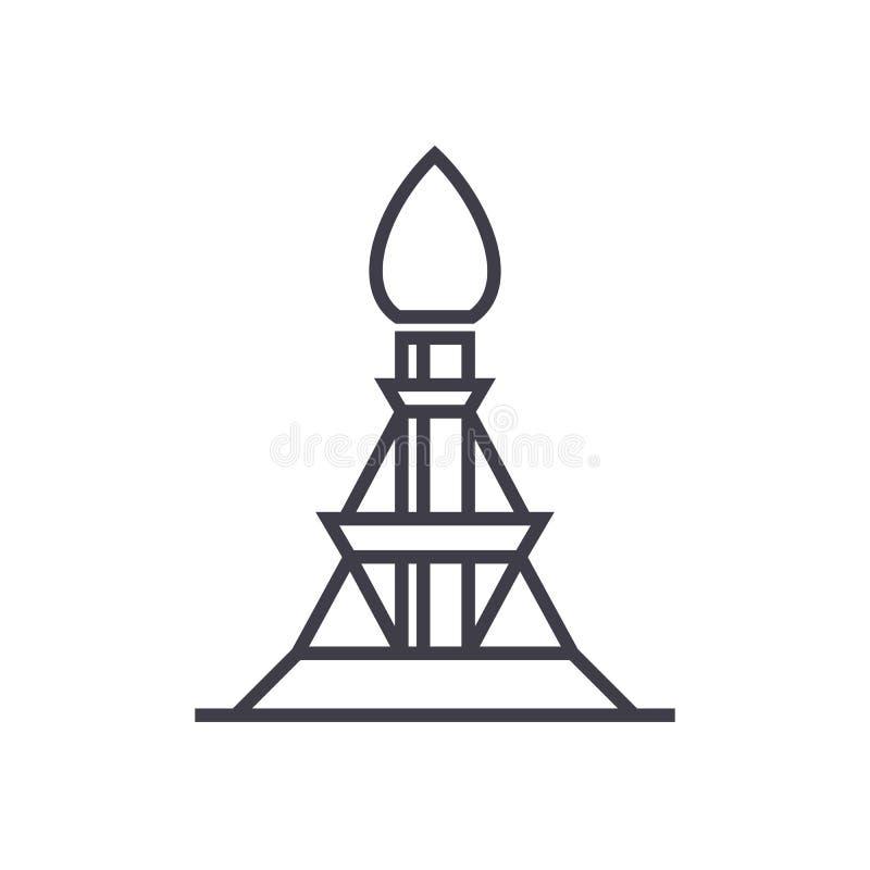 Línea icono, muestra, ejemplo del vector del aparejo de gas en el fondo, movimientos editable libre illustration