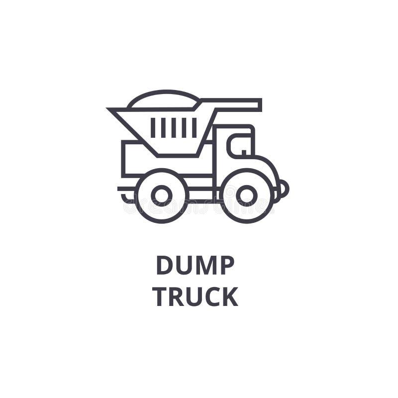 Línea icono, muestra, ejemplo del vector del camión volquete en el fondo, movimientos editable libre illustration