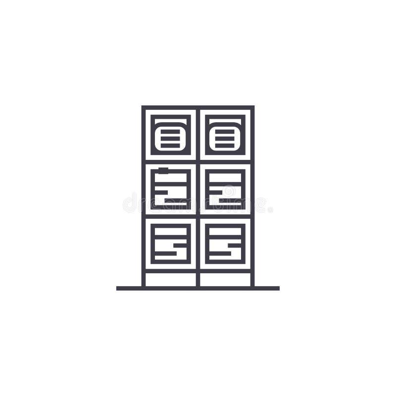 Línea icono, muestra, ejemplo del vector del centro de datos en el fondo, movimientos editable ilustración del vector