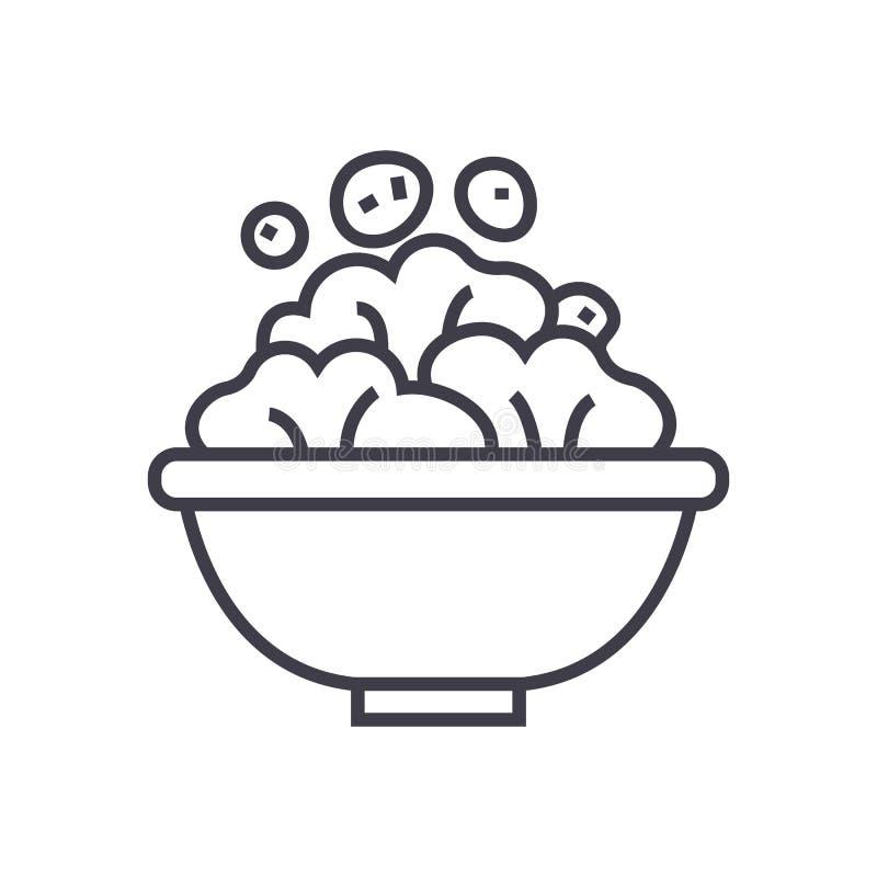 Línea icono, muestra, ejemplo del vector del cuenco de ensalada en el fondo, movimientos editable stock de ilustración