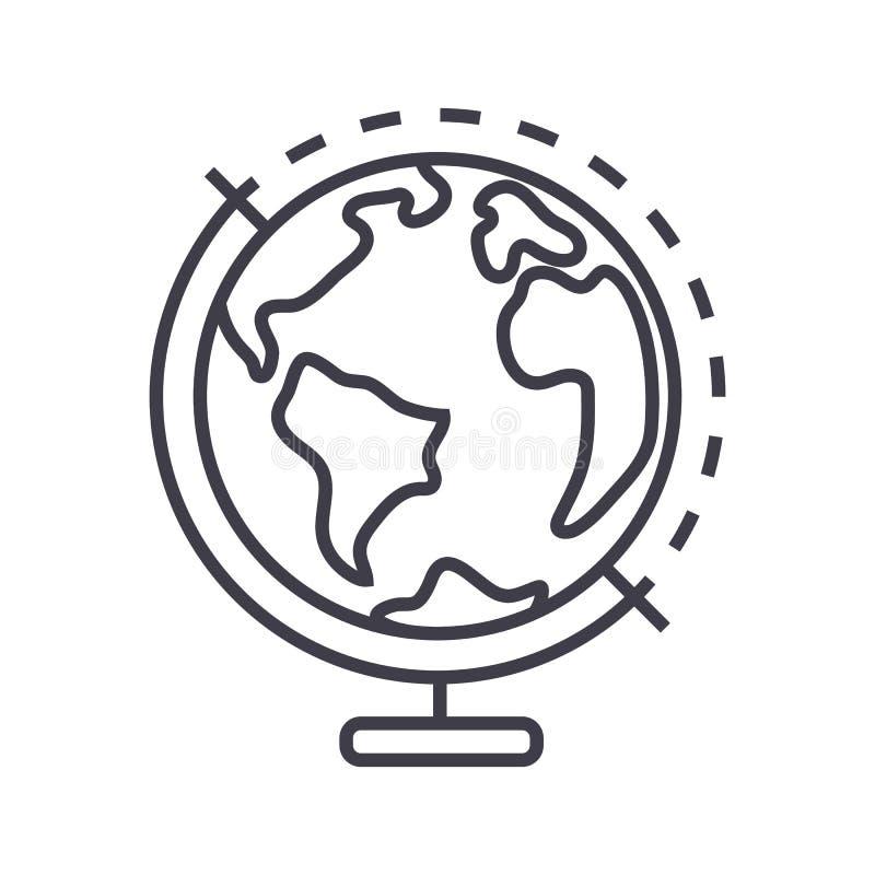 Línea icono, muestra, ejemplo del vector de Globus en el fondo, movimientos editable stock de ilustración