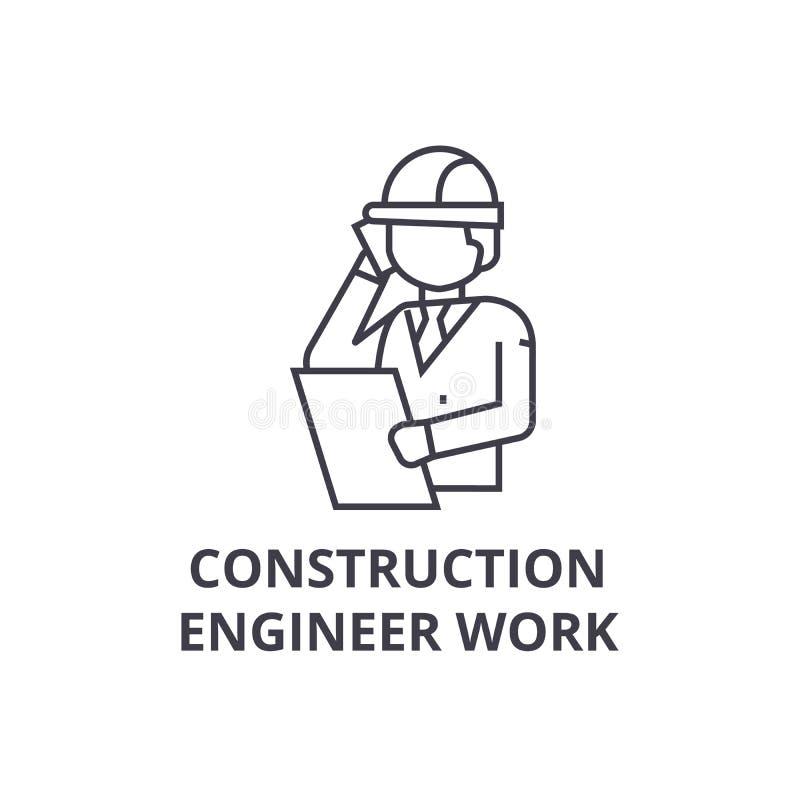 Línea icono, muestra, ejemplo del vector de la charla del ingeniero de construcción en el fondo, movimientos editable stock de ilustración