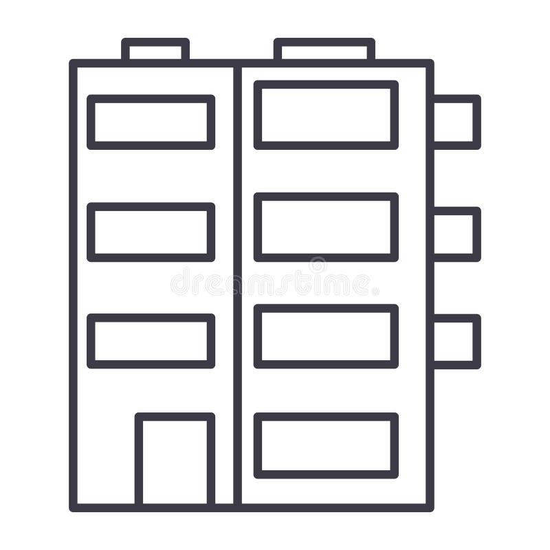 Línea icono, muestra, ejemplo del vector de la construcción de viviendas en el fondo, movimientos editable stock de ilustración