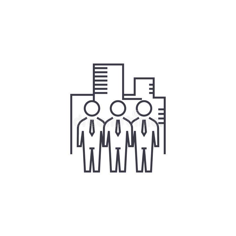 Línea icono, muestra, ejemplo del vector de la empresa de negocios en el fondo, movimientos editable ilustración del vector