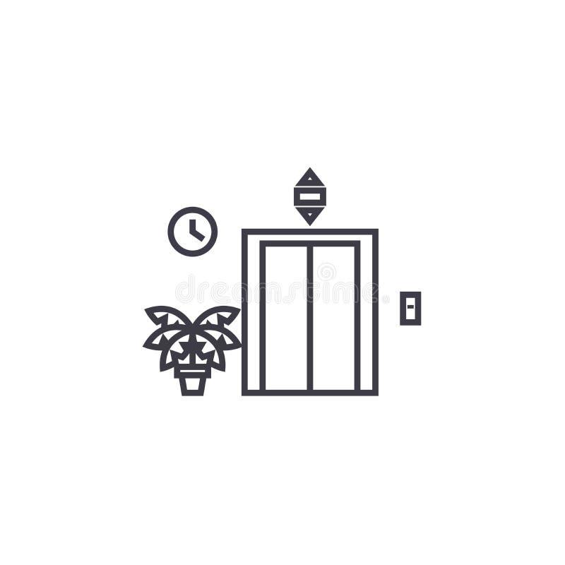 Línea icono, muestra, ejemplo del vector de la entrada del elevador en el fondo, movimientos editable stock de ilustración