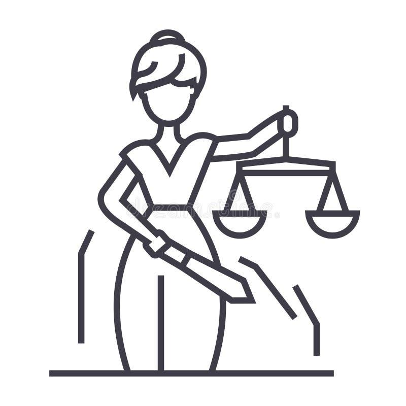 Línea icono, muestra, ejemplo del vector de la estatua de la justicia en el fondo, movimientos editable libre illustration