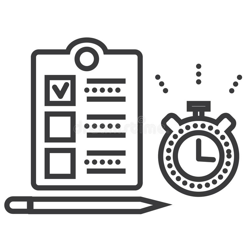 Línea icono, muestra, ejemplo del vector de la gestión de tiempo en el fondo, movimientos editable ilustración del vector