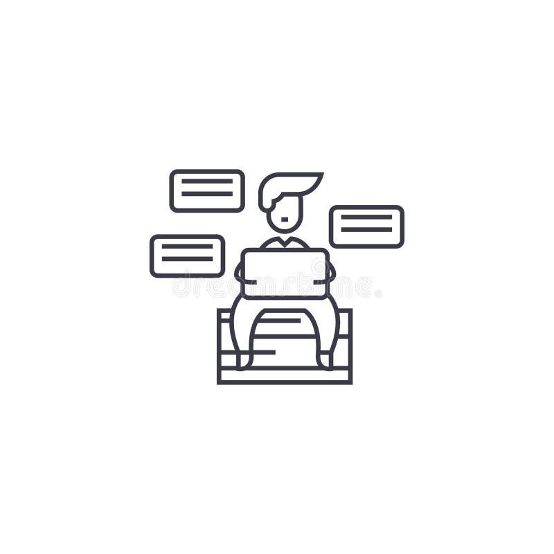 Línea icono, muestra, ejemplo del vector de la productividad en el fondo, movimientos editable libre illustration