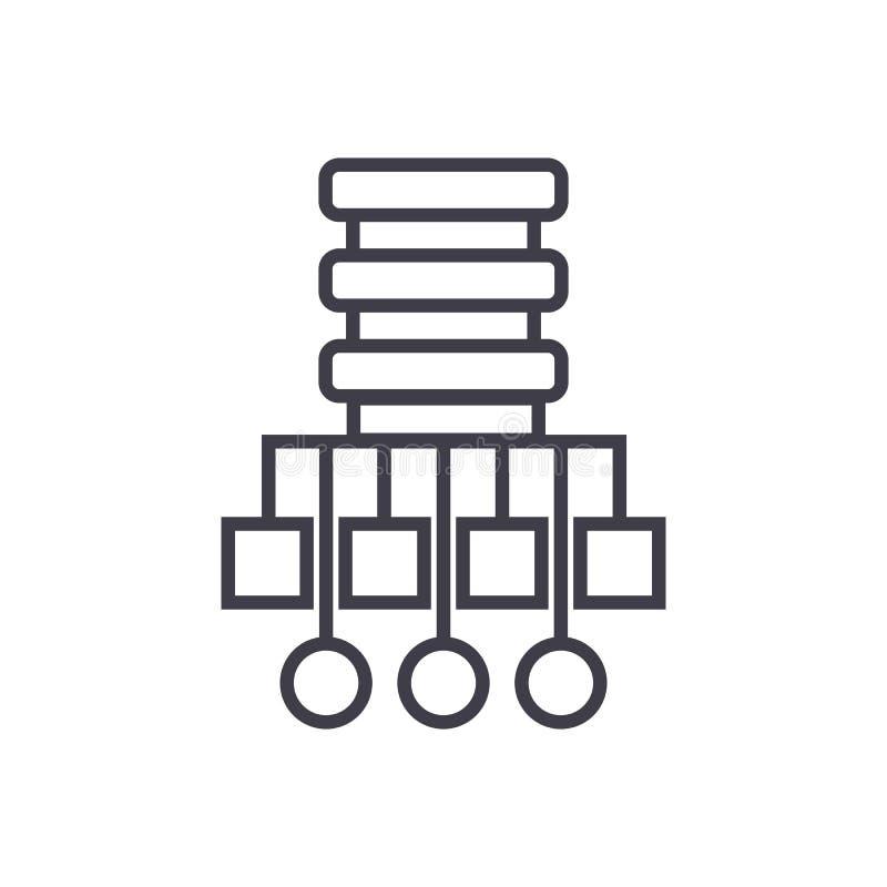 Línea icono, muestra, ejemplo del vector del ejemplo de la red de la base de datos en el fondo, movimientos editable libre illustration