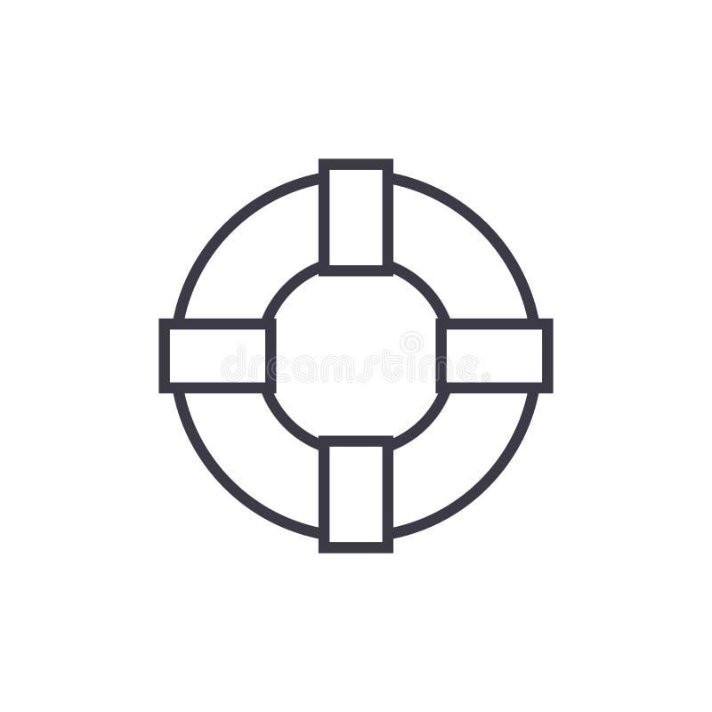 Línea icono, muestra, ejemplo del vector de la muestra del salvavidas en el fondo, movimientos editable stock de ilustración