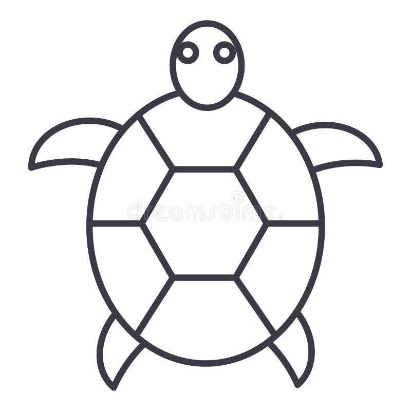 Línea icono, muestra, ejemplo del vector de la tortuga en el fondo, movimientos editable ilustración del vector