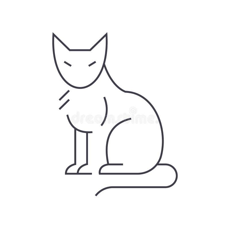 Línea icono, muestra, ejemplo del vector del gato en el fondo, movimientos editable stock de ilustración