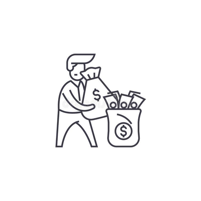 Línea icono, muestra, ejemplo del vector del hombre rico en el fondo, movimientos editable libre illustration