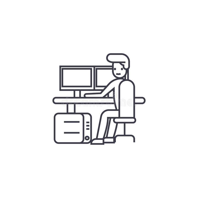 Línea icono, muestra, ejemplo del vector del lugar de trabajo del control de seguridad en el fondo, movimientos editable stock de ilustración