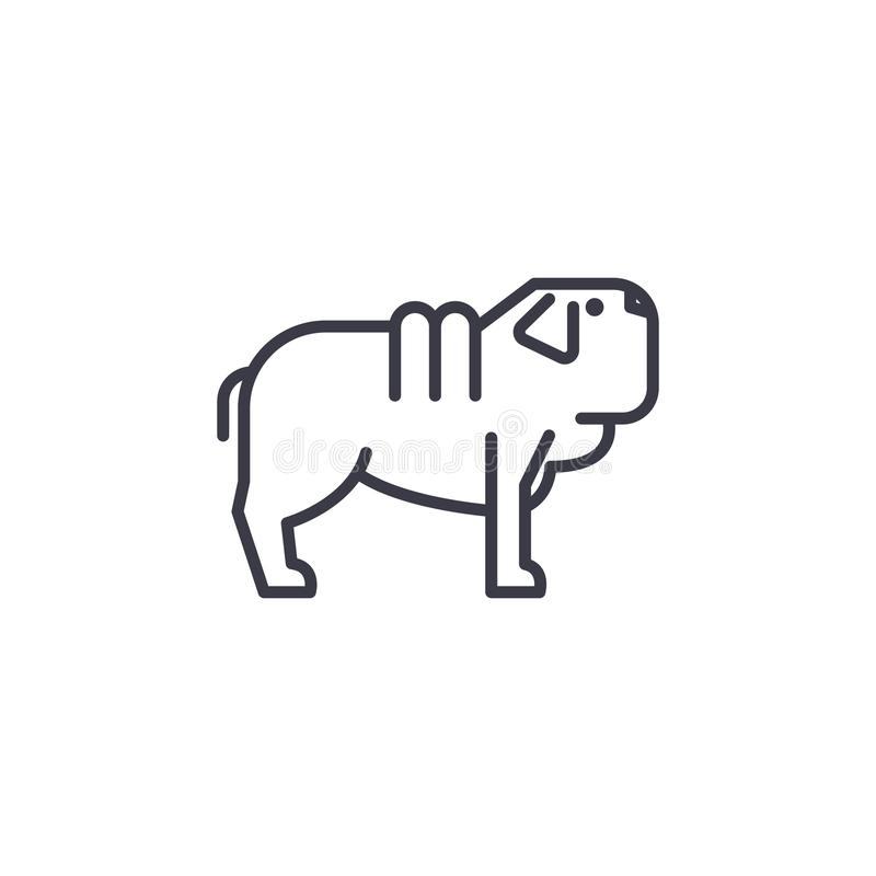 Línea icono, muestra, ejemplo del vector del perro del pei de Shar en el fondo, movimientos editable libre illustration