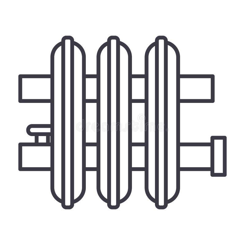 Línea icono, muestra, ejemplo del vector del radiador en el fondo, movimientos editable libre illustration