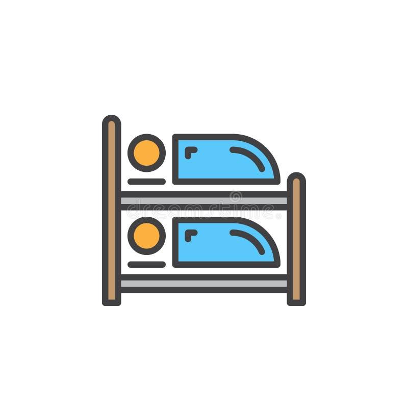 Línea icono, muestra llenada del vector del esquema, pictograma colorido linear de la litera aislado en blanco stock de ilustración