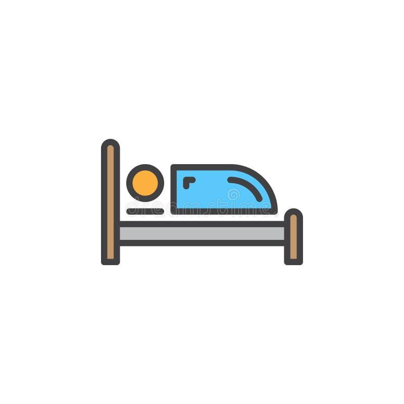 Línea icono, muestra llenada del vector del esquema, pictograma colorido linear de la sola cama aislado en blanco stock de ilustración