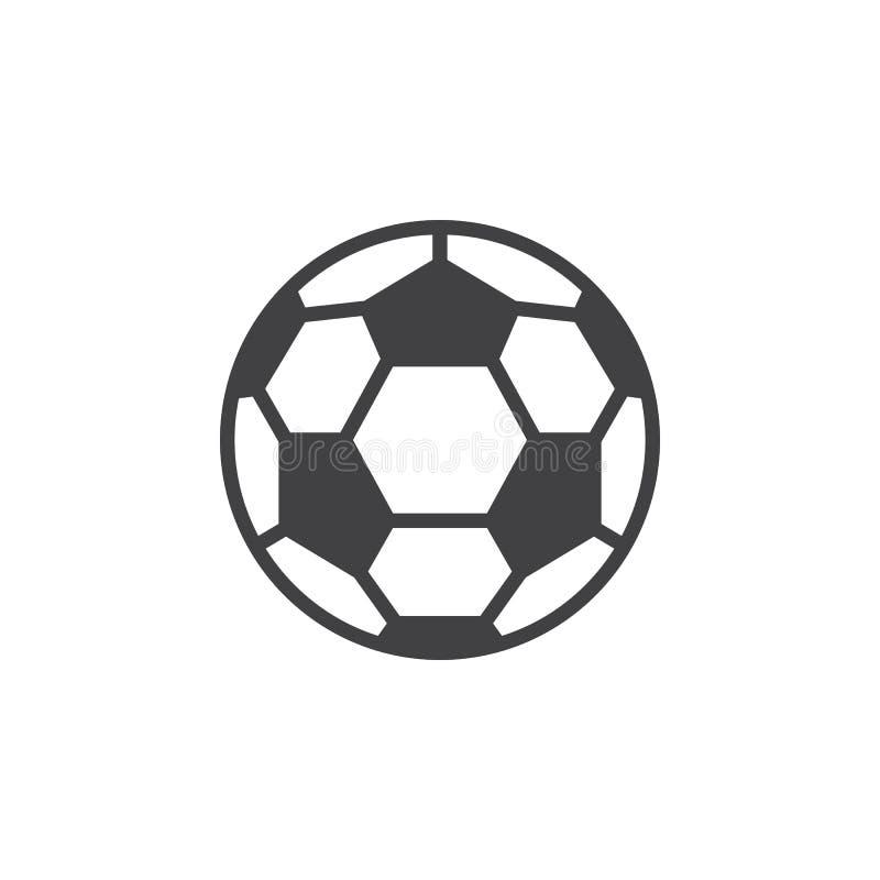 Línea icono, muestra llenada del vector del esquema, pictograma linear del balón de fútbol del estilo aislado en blanco stock de ilustración