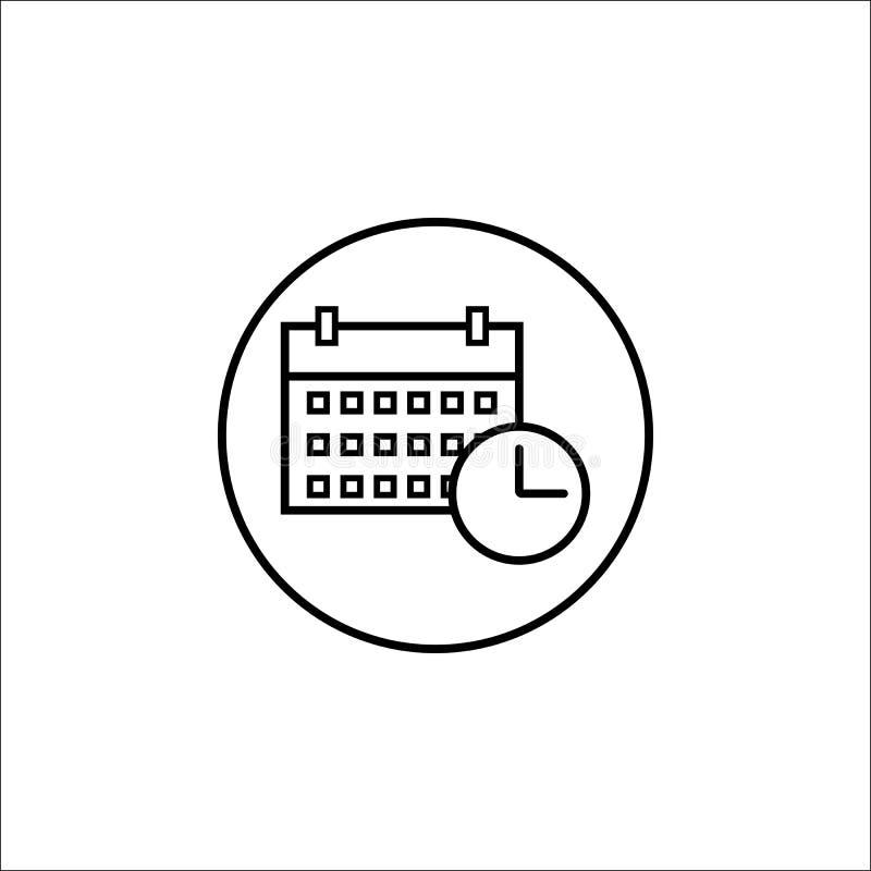 Línea icono, muestra móvil y calendario de fecha y de hora stock de ilustración