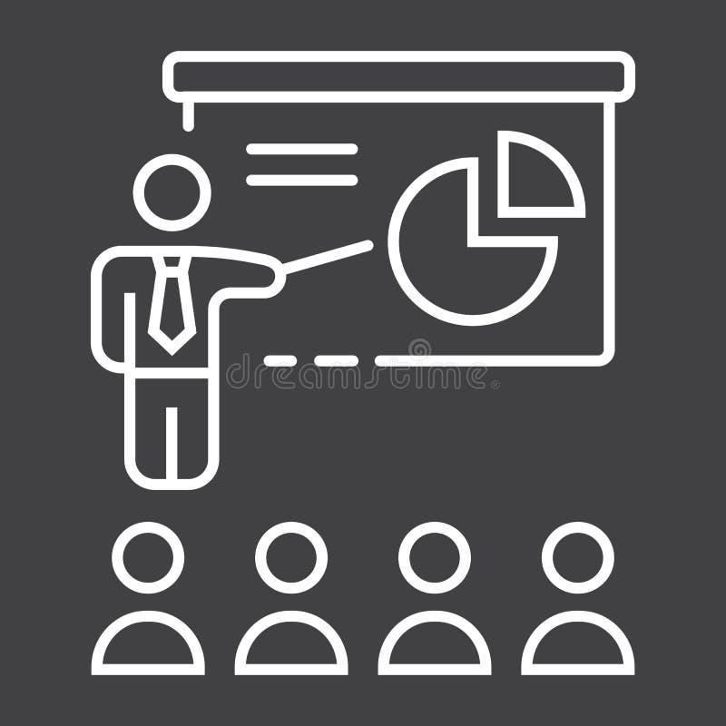 Línea icono, negocio de la presentación del entrenamiento stock de ilustración