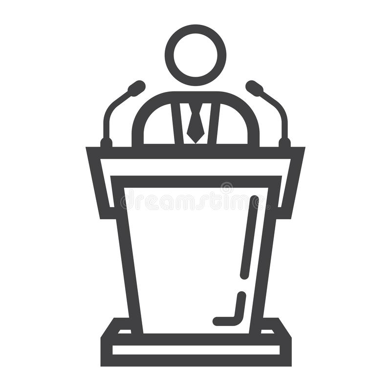 Línea icono, negocio y tribuna del Presidente, libre illustration