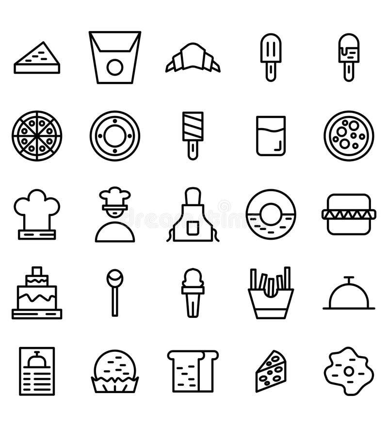Línea icono o ejemplo de la comida del vector Movimiento y color Editable libre illustration