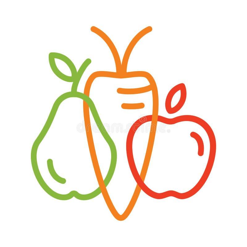 Línea icono para la tienda sana del vegano, emblema orgánico stock de ilustración