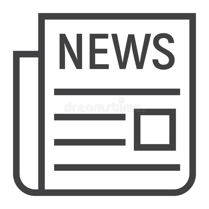 Línea icono, periódico y sitio web de las noticias