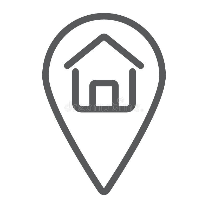 Línea icono, propiedades inmobiliarias y hogar de la ubicación casera stock de ilustración