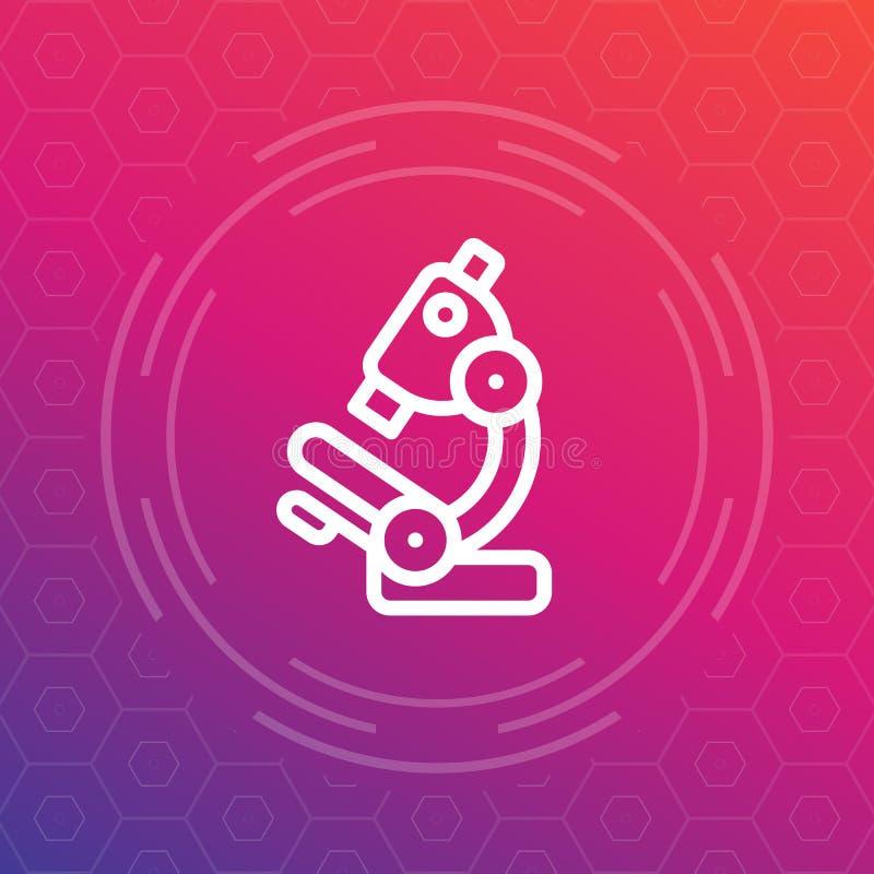 Línea icono, símbolo del microscopio del laboratorio de investigación stock de ilustración