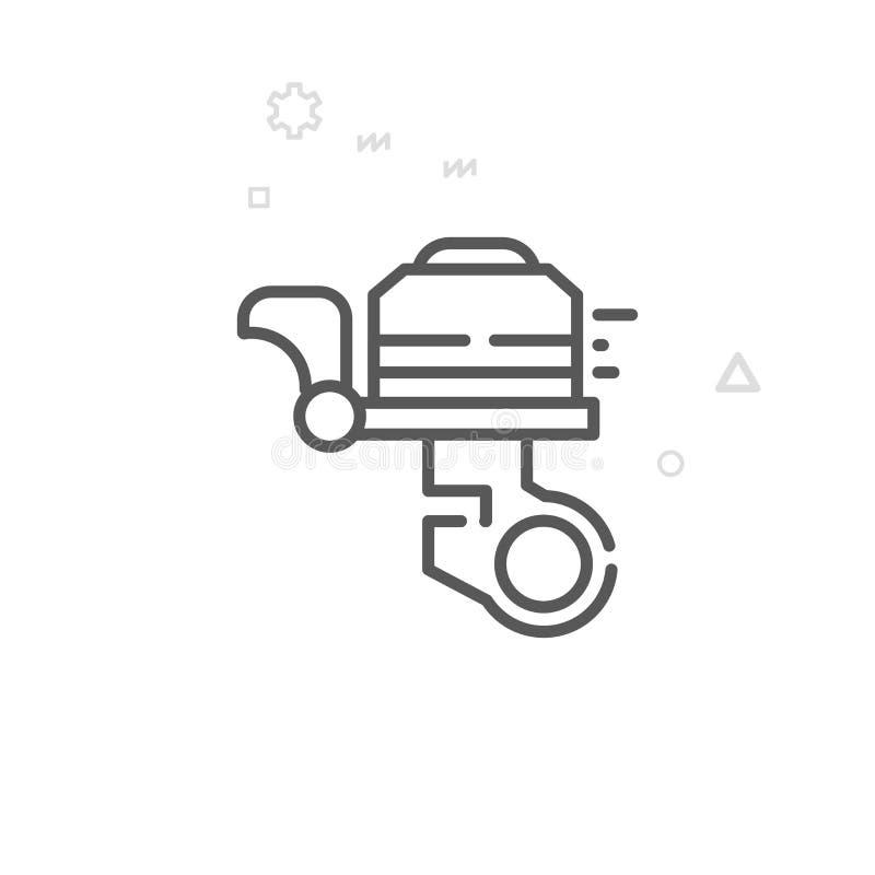 Línea icono, símbolo, pictograma, muestra del vector de Bell de la bici o de la bicicleta Fondo geométrico abstracto ligero Movim stock de ilustración