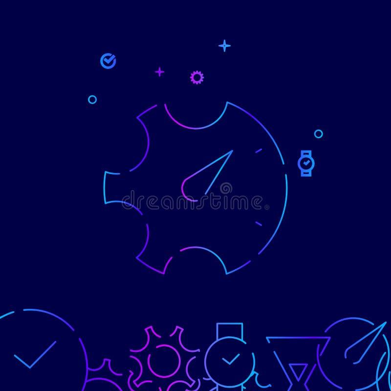 Línea icono, símbolo, pictograma, muestra del vector de la gestión de tiempo en un fondo azul marino Frontera inferior relacionad ilustración del vector