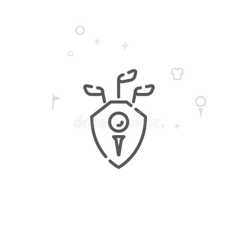 Línea icono, símbolo, pictograma, muestra del vector del emblema del escudo de Golf Club Fondo geom?trico abstracto ligero Movimi ilustración del vector