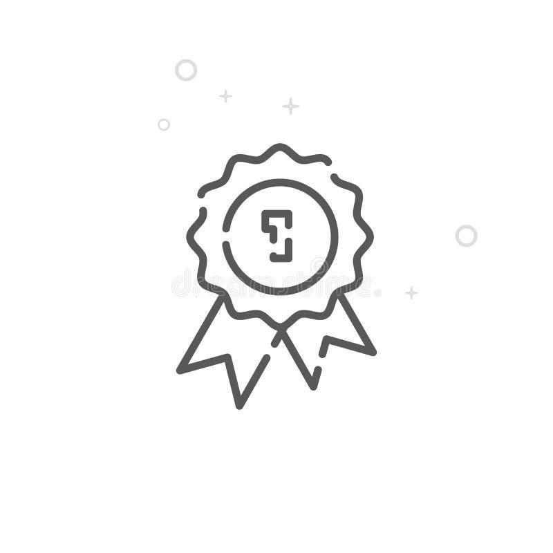 Línea icono, símbolo, pictograma, muestra del vector del sello de calidad Fondo geométrico abstracto ligero Movimiento Editable stock de ilustración
