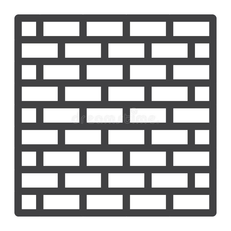 Línea icono, seguridad y estructura de la pared de ladrillo libre illustration