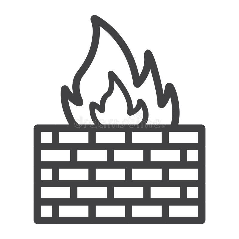 Línea icono, seguridad y pared de ladrillo del cortafuego ilustración del vector