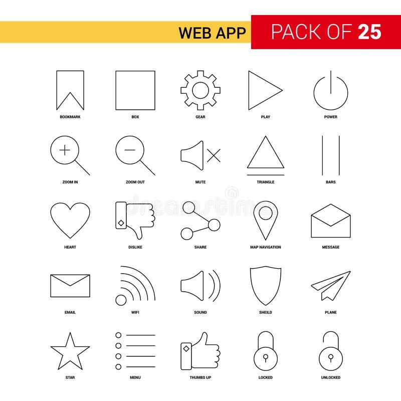 Línea icono - sistema del negro de Web App del icono del esquema de 25 negocios libre illustration