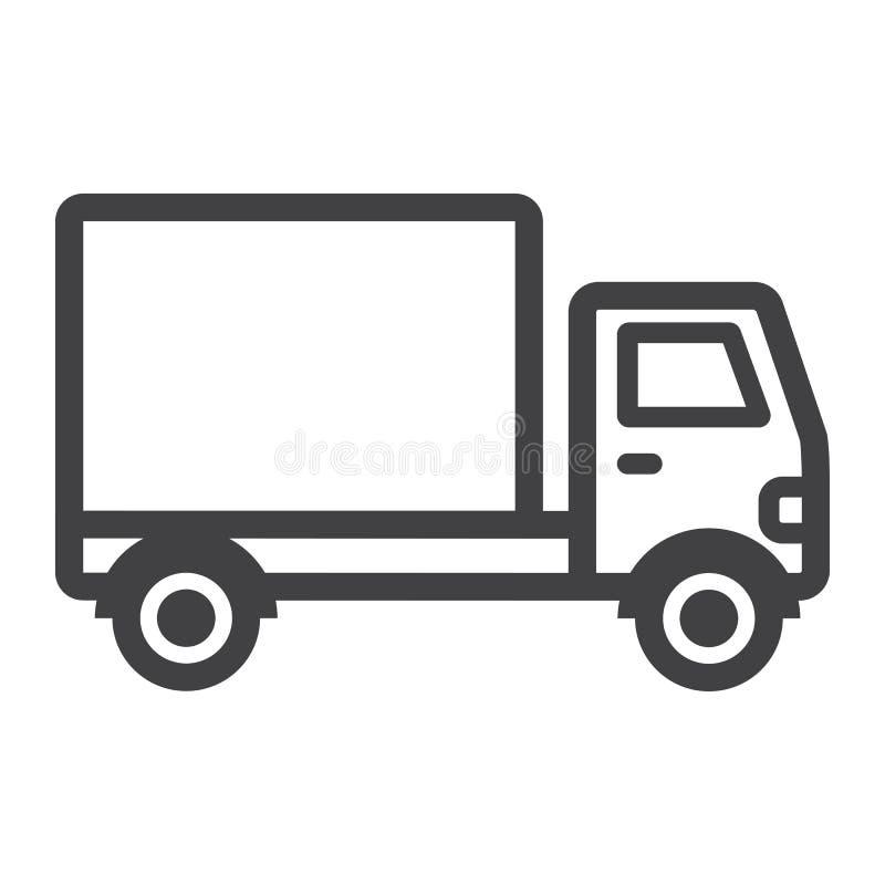 Línea icono, transporte y vehículo del camión de reparto foto de archivo