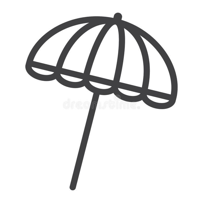 Línea icono, turismo del viaje, parasol del paraguas de Sun ilustración del vector